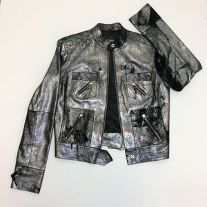 Zoomp Metallic Moto Silver Leather Bomber Jacket